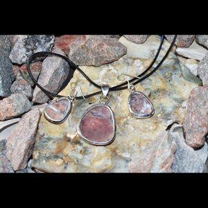handmade & handcrafted gemstone jewelry Jewelry - Redish-Brown Jasper Pendant & Earrings Set